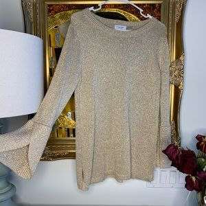 Gold Calvin Klein knot sweater size small